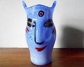 "Ulrica-Hydman Vallien for Kosta Boda ""Open Minds"" Small Face Vase, Blue, Red, Black"