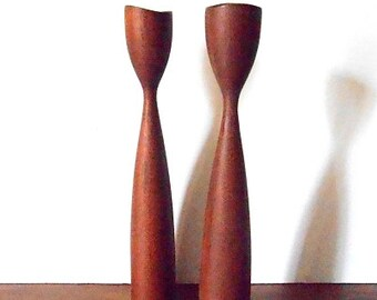 Danish Midcentury Modern Pair of Tall Teak Wood Candleholders, Made in Denmark, MCM