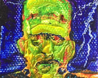 Frankenstein Halloween mini 2x2 Original Impasto Oil Painting by Paris Wyatt Llanso