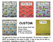 Custom Cotton Cloth Pads ~ Mickey, Snoopy, Winnie Prints ~ Choose Length & Absorbency ~ AP or Windpro fleece ~ Reusable Cloth Menstrual Pad