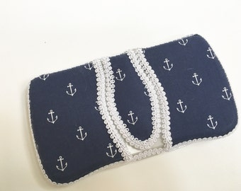 Flip Top Baby Wipe Case - Navy Anchors Covered Wipes Case