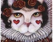 Queen of Hearts, Fantasy Cat Art, Alice in Wonderland 8x10 Fine Art Print