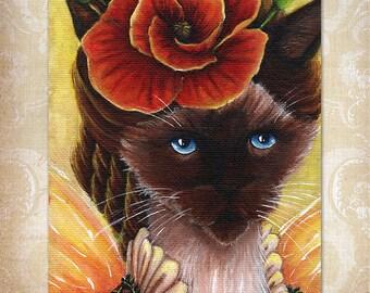 Poppy Fairy Siamese Cat, Fantasy Art Flower Portrait, 8x10 Fine Art Print