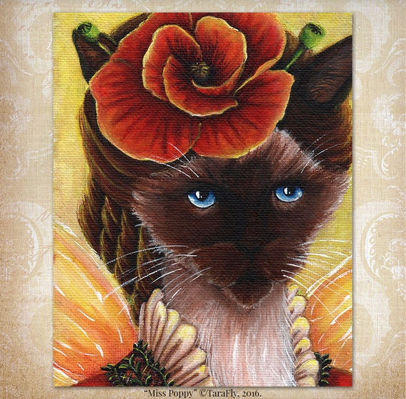 Poppy Fairy Siamese Cat, Fantasy Art Flower Portrait, 8x10 Fine Art Print