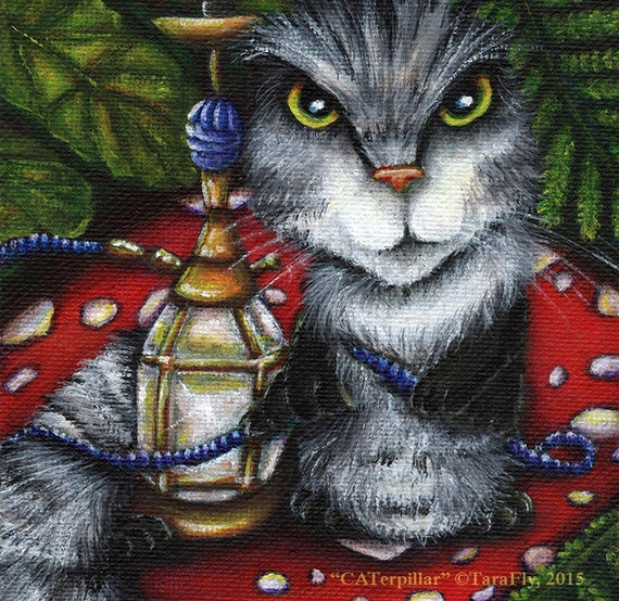 Caterpillar Cat, Alice in Wonderland, Fantasy Cat Art 8x10 Fine Art Print