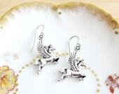 Mythical Pegasus Greek Winged Horse Earrings Silver Tone