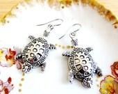 Good Luck Sea Turtle Tribal Filigree Charm Earrings SilverTone