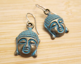 Beautiful Buddha Earrings Hand Painted Turquoise Blue