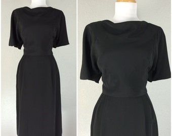 Vintage 1950s Dress Adele Simpson Black Cocktail Party Wiggle Dress