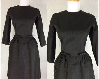 Vintage 1960s 50s Dress Black Gay Gibson Accent Bows Layered Cocktail Party Dress