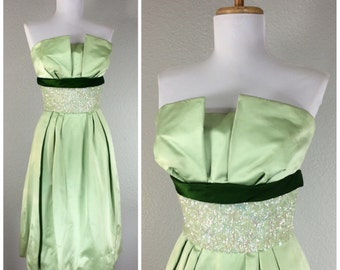 Vintage 1950s 60s Dress Green Sateen Sequin Eloise Curtis Cocktail Party Dress