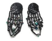 Black Earring, Sequin Beaded, Vintage Earrings, Big Statement, Boho Bohemian, Gypsy Jewelry, Beaded, Hippie, Festival, Long Earrings