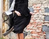 Amelia  Cape blouse Long Dress  Kaftan Pure Silk  Da Vinci Painting   Black