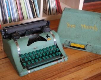 Green Metal Tom Thumb Toy Typewriter with Case