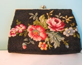 Beautiful Petit Point Vintage Seed Beaded Black Purse Hong Kong Clutch Style Mother of Bride GORGEOUS evening bag