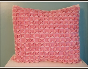Very Vintage Pink Gingham Linen Cotton Hand Smocked Pillow with Flour Sacking Pristine Shabby Chic Cottage Handmade