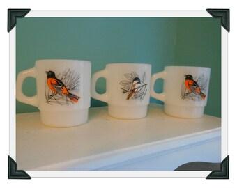 Set of Three Vintage Fire King Songbirds Mugs Cardinal Chickadee Oriole Milk Glass D Handle Pristine Coffee Tea