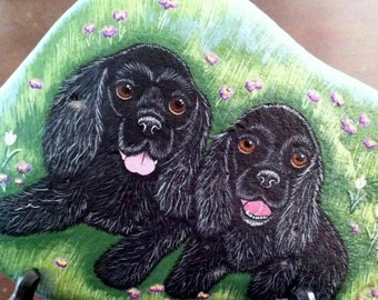 Custom Portrait dog - Pet portrait - Custom Pet Portrait painting from your photo pet memorial personalized gift idea hand painted rocks art