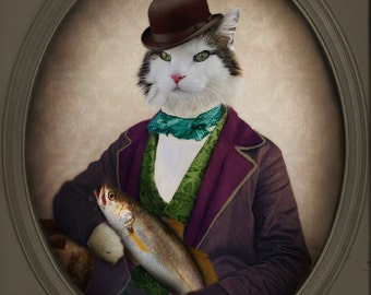 Cat Art Cat Lover Gift Animal Photography Anthropomorphic Fish Pet Portrait Animal Wall Art Made in Canada Print - Arkus and his Catch