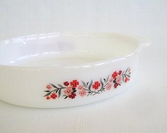 Vintage Fire King, Baking Dish, Round Dish, Primrose Pattern, Pink Flowers, Floral Dish, Cornbread Pan, Casserole Dish, Milk Glass, USA Made