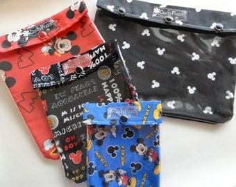 Ouch Pouch Matching Mickey Mouse Disney Set - 4 Sizes Clear Pocket Travel Bags Organize First Aid Baby Supplies Diapers/Wipes Meds