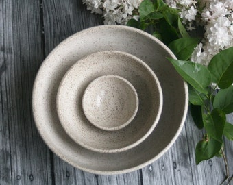 Rustic Speckled Nesting Bowls, Ceramic Set of Three Bowls Brown and Cream Handmade Pottery Bowls Ready to Ship Made in USA