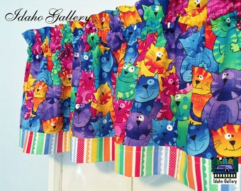Rainbow Cat and Stripes Cat Lovers Window Valance Kitchen Curtain or Bedroom Valance
