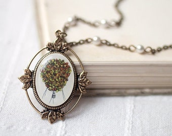 Hot Air Balloon necklace - Romantic gift jewelry - Butterfly Necklace - Romantic gift for her - Art jewelry - Up up and away (N002)