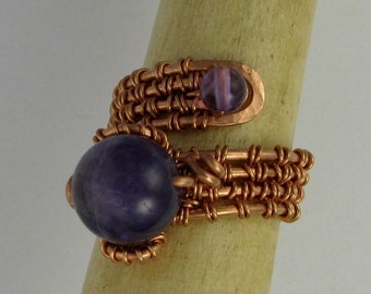 Amethyst bead wire wrapped copper adjustable ring DTPD