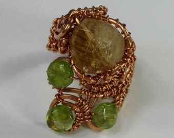 Citrine and peridot wire wrapped copper adjustable ring DTPD