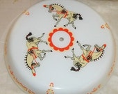 ON SALE Vintage Large Ceiling Light Fixture Cover Horse Circus