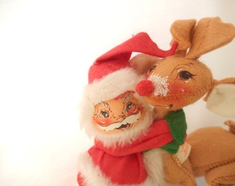 Annalee Christmas collectible, Santa and reindeer, 1970, vintage Christmas decor