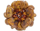Straw, Mustard, and Burnt Amber Magnolia Pendant Necklace, Goldenrod Gem