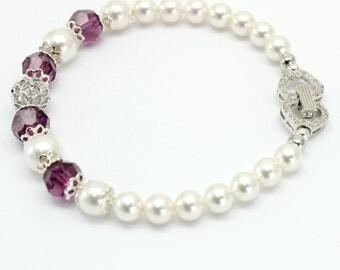 White Pearl Amethyst Bracelet Swarovski Elements White Gold Sterling Silver Bridal Wedding Evening Bridesmaids Purple Egplant Jewelry