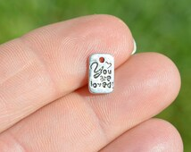 """BULK 50  Silver """"You Are Loved"""" Charms SC3355"""