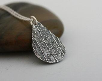 Silver Necklace: Meadow, Silver bamboo pendant, teardrop pendant , teardrop necklace, Gift for her