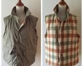 vintage RUGGED REVERSAL plaid wool field vest