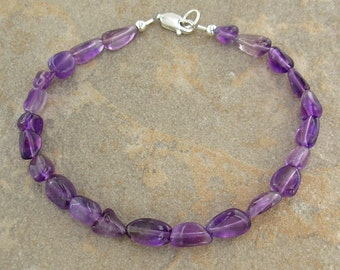 Amethyst Nuggets Anklet - Natural Stone Ankle Bracelet with Sterling Silver Clasp in Sizes Small to Plus Size