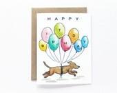 Balloons Dogs Birthday Card