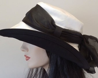 Scarlett Sun Hat in White Organic Cotton Duck with Wide Brim with long black removable scarf