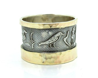 Egyptian scroll design wide silver and gold ring