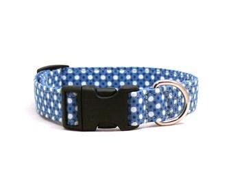 Blue&white polka dots dog collar - Blue pet collar - White polka dot dog collar - Medium blue pet collar - Teenager Liebe dog collar