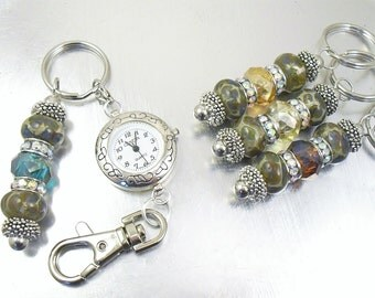 YOUR CHOICE - Fancy Glass and Swarovski Crystal Beaded Key Chain, Purse Embellishment, Zipper Pull with or without Watch Face