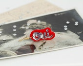 OUI French Silver Red Felt Single Earring