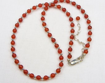 Carnelian Sterling Silver Necklace - Beaded Necklace - Genuine Gemstone - Gift