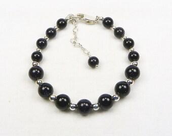 Blue Goldstone Bracelet - Beaded Jewelry - Beaded Bracelet - Gift For Her - Sterling Silver