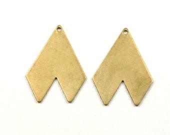 10 Geometric jewelry pendant or earring drops. 28mm x 21mm (S30). Please read description