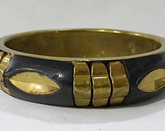 Vintage gara danielle bangle bracelet wood metal inlay sign