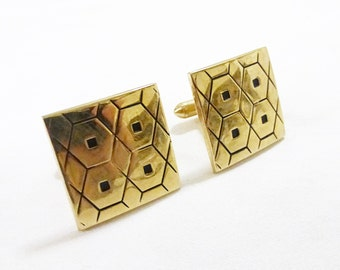 Vintage swank man cufflink square gold tone beehive
