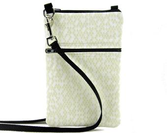 Fabric Sling Bag, Small, Cream & White, Diamond Print, Mini Hipster, Crossbody Bag, Zipper, Gadget, Travel Purse, Pouch, Zipper Purse